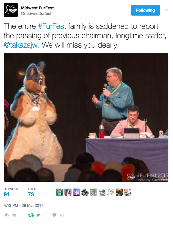 Screenshot of the MFF Twitter account announcement of Takaza's death.